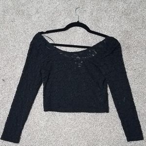 Black lace crop top. Size small